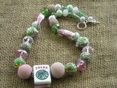 Mahjong Necklace in Pink and Green - Mahjong Gift - Jesse James Beads by MahjongJewelry on Etsy