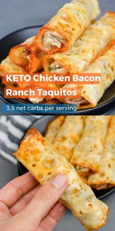 These quick and easy Keto Chicken Bacon Ranch Taquitos are the perfect low carb appetizer or snack! I first made my popular Keto Buffalo Chicken Taquitos on my site Maebells. They only have three ingredients and come together in a matter of minutes. These Keto Chicken Bacon Ranch Taquitos are just as delicious! Packed with tender chicken, crispy bacon, fresh green onions