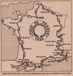 La carte du tour de France de 1933 Grand Tour, Bike Poster, Tours France, Bicycle Race, Custom Map, Cycling Art, Bike Art, Bike Stuff, Vintage Bicycles
