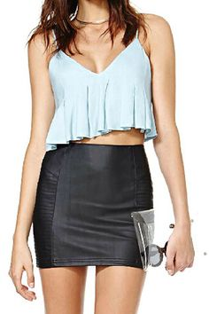 abaday Strapped Midriff Flouncing Light-blue Vest - Fashion Clothing, Latest Street Fashion At Abaday.com