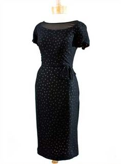 1960's Black Polka Dot Silk Cocktail Dress w/Black Chiffon Overlay