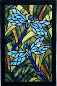 Dragonfly Garden Stained Glass Mosaic by Three Swans Studio