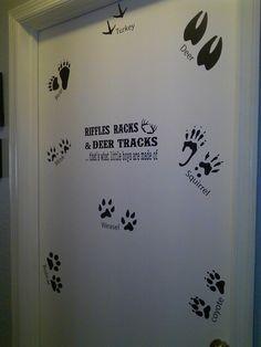 riffles racks and deer tracks decal on door of hunting bedroom decor order your custom vinyl