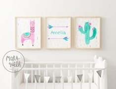 Pink Llama Set - Nursery prints for baby girl room. Llama, arrows and cactus - Soft colors: Pink and Mint green hues Baby Decor, Kids Decor, Girl Nursery, Girl Room, Nursery Ideas, Tribal Baby Shower, Baby Posters, Personalized Wall Art, Llamas