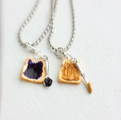 Peanut Butter Grape Jelly Best Friends Necklace  - Miniature Food Jewelry - Food Jewelry. $17.75, via Etsy.
