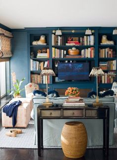 Living room interior design, blue