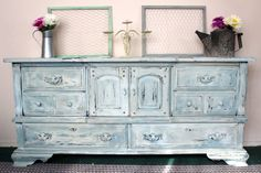light blue distressed dresser checkout our Facebook page https://www.facebook.com/DesignsByLisaAndAdam