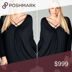 {Plus} Crisscross strap v-neck black long sleeve {Plus} Crisscross straps over the front v-neck with back cut out long sleeve top. Color is black and material is 95/5 Rayon/Spandex. Made in USA!!! Sizes 1X-3X Tops Tunics