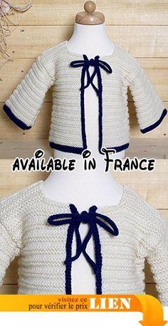 Cardigan tricoté au point mousse rayé et liseré bleu taille 3 mois.  #Guild Product #GUILD_APPAREL