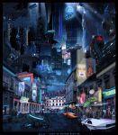 Cyberpunk Hometown by Leslie Cooper on ArtStation. Cyberpunk City, Retro Futuristic, Cyberpunk Aesthetic, Aliens, Post Apocalyptic City, Underground Cities, City Aesthetic, Shadowrun, Paisajes