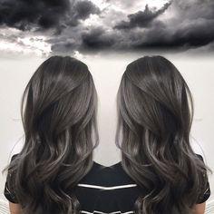Smoky Charcoal Gray Hair Color by Janai Hartt hotonbeauty.com