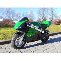 Minimoto (vihreä) 249,95€. Hauska minimoto hurjaan menoon, yksisylinterinen kaksitahtimoottori tuottaa vajaan neljän hevosvoiman verran tehoa, joka on hurjan paljon ottaen huomioon että koko moton kokonaispaino on 20 kiloa! Hauskoihin leikkeihin tai perheen nuoremmille hurjapäille. Ilmainen toimitus! #minimoto Motorcycle, Mini, Vehicles, Color, Motorcycles, Car, Motorbikes, Choppers, Vehicle