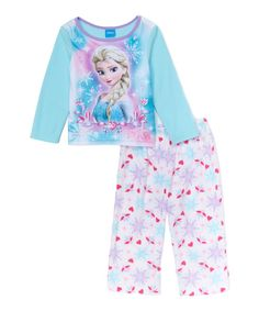 Look at this Frozen Elsa Ice Blue & White Microfleece Pajama Set - Toddler on #zulily today!