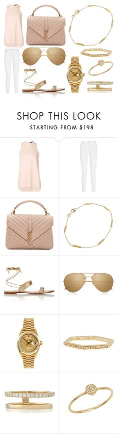 """""""Lunch, Drinks and Shopping"""" by laura2703 ❤ liked on Polyvore featuring Alexander Wang, J Brand, Yves Saint Laurent, Jennifer Meyer Jewelry, Gianvito Rossi, Linda Farrow, Rolex, Sydney Evan, Lana and Anine Bing"""