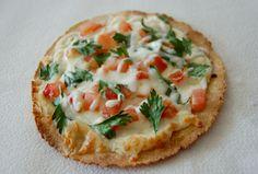 homemade pizza: tortilla (90 calories), mozzarella cheese (80 calories), tomato, parsley