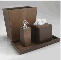 Limited Production Design: Brown Shagreen Leather Bathroom Set * Hotel Contract Orders Only Email: hospitality@instyle-decor.com