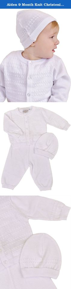 Aiden 9 Month Knit Christening Baptism Blessing Outfit for Boys. A smartly detailed sweater and pant set provides the perfect mix of style and comfort for his christening, baptism or blessing.