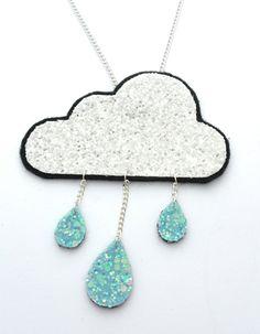 Fluffy Rain Cloud Glitter Necklace - FREE UK SHIPPING