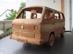 VW Transport T3 van sculpture in wood