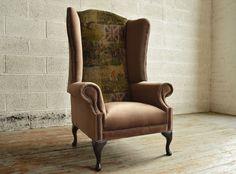 Bespoke British fox hunting printed velvet high back Chesterfield Wing Chair. Brown velvet | Abode Sofas