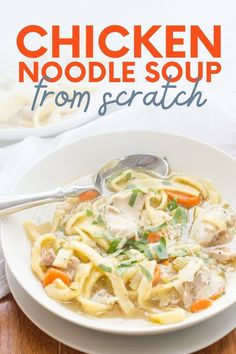 Homemade chicken noodle soup is not only easy to make, but it also tastes better than anything you can buy in a can. This classic comfort food is a must-make for winter-time! Best Soup Recipes, Healthy Recipes On A Budget, Best Dinner Recipes, Healthy Meals For Kids, Healthy Eating Recipes, Healthy Breakfast Recipes, Vegetarian Recipes, Easy Meals, Best Chicken Noodle Soup