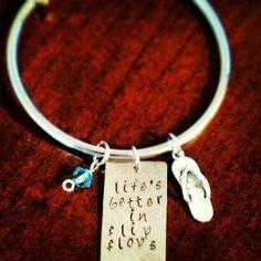 "Hand Stamped ""Life's Better in Flip Flops"" Bracelet"