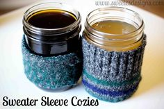 How to make a Coffee Sleeve using an old wool sweater. No Sewing Required. Adorable, Simple & Cost Effective.