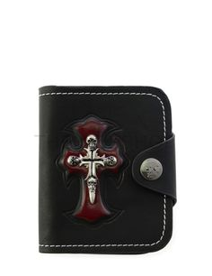 (UTWHC002N-BLACK) Mens Skull Cross Patched ID Window Snap Button Coin Leather Wallet