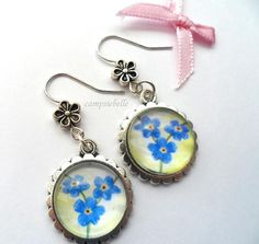 Blue Forget Me Not Earrings- Hand painted- Blue Earrings- Silver Setting- Daisy Hooks- Created by campsiebelle
