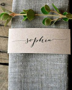Custom Listing for Suzi--Kraft Wedding Napkin Place Cards Specifications: La Pomme et la Pipes signature design rustic, unique and super chic napkin wrap place card bands! Made from my trademark Wedding Places, Our Wedding, Dream Wedding, Wedding Venues, Wedding Place Settings, Wedding Place Cards, Rustic Place Cards, Wedding Name Tags, Wedding Calligraphy