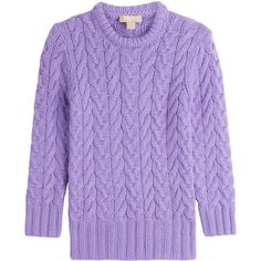 Michael Kors Cashmere Pullover ($1,299) ❤ liked on Polyvore featuring tops, sweaters, purple, sweater pullover, boxy tops, purple cashmere sweater, michael kors tops and purple top