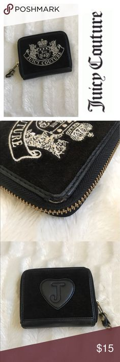 ✨$80 Juicy Couture✨ ❌Firm Price❌ Authentic Juicy Couture wallet so many pockets for everything you need all compact into a small cute wallet. Black velour with cream stitched logo. Small corner damage on one side but other then that wallet is in excellent condition. Juicy Couture Bags Wallets