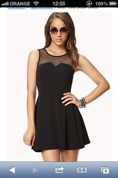 8a073357c5ef Has potential for New Year outfit  FOREVER 21 Mesh Yoke Skater Dress
