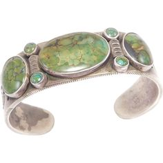 Old Heavy Coin Silver Turquoise Signed Navajo Cuff Bracelet