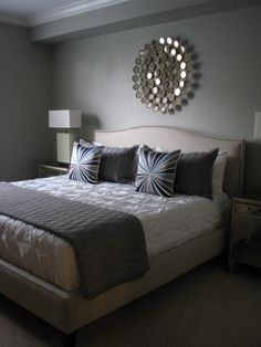 Martha Stewart - Bedford Gray - Crate and Barrel Colette bed- Z Gallerie Borghese nightstands- Z Gallerie Gatsby lamps- West Elm Pintuck duvet- West Elm Bullseye throw pillows- Thomas O'Brien Menswear coverlet and shams- Pier 1 Circles mirror Home Bedroom, Master Bedroom, Bedroom Decor, Gray Bedroom, Bedroom Ideas, Serene Bedroom, Home Design, Interior Design, Muebles Home