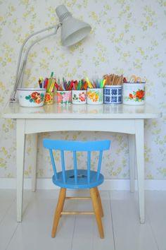 Kids creative corner in kids bedroom or playroom or main living space