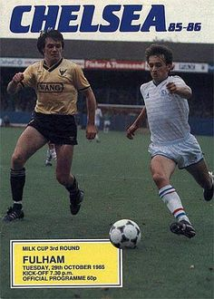 Chelsea 1 Fulham 1 in Oct 1985 at Stamford Bridge. The programme cover for the League Cup 3rd Round tie.