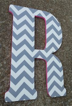 18 inch hand painted wooden letter chevron and hot pink love it