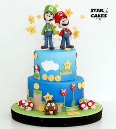 Pastel de Super Mario Bros Super Mario Party, Super Mario Bros, Mario Bros Y Luigi, Mario Bros Cake, Mario Brothers, Bolo Do Mario, Bolo Super Mario, Bolo Sonic, Sonic Cake
