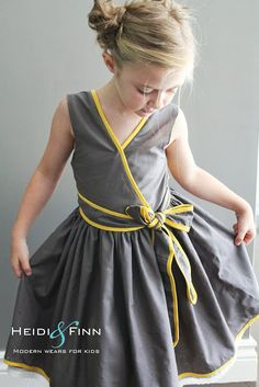 HeidiandFinn modern wears for kids: Pattern Remix - Saffron Twirl Dress by Zafarani