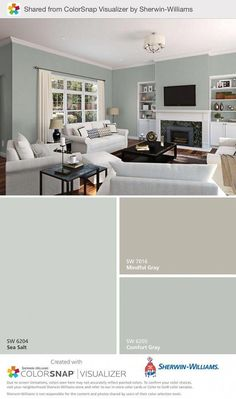 If mindful grey in master bedroom, here are coordinating colors. Sea salt for master room / shy green berh #familyroomdesignpaintcolours