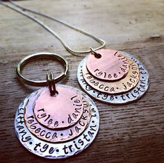 A gift for grandma and grandpa! A keychain and necklace with room enough for all of the grandkids' names. Do you think your grandmother and grandfather would use these? Click through the pin to comment and let me know!   Grandma and Grandpa Necklace/Keychain Gift Set by The Copper Poppy | Hatch.co