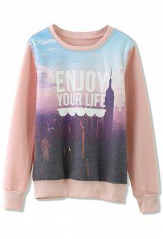 Scenic Print Sweater in Pink