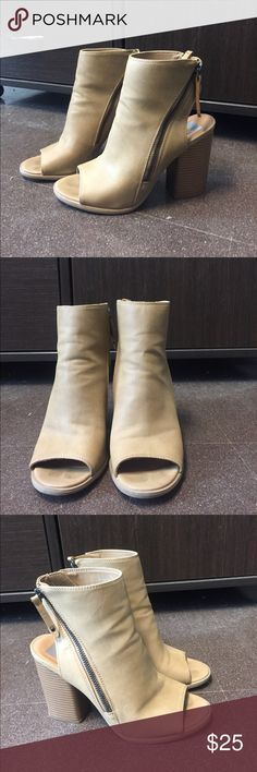 Tan heel booties Cute heeled booties with cut out toe and heel! Super cute zippers on both sides. Only worn once to an event! Shoes Heels