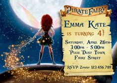 Pirate Fairy Invitation II - Pirate Fairy Party - Pirate Fairy  Birthday -  Zarina - Tinkerbell