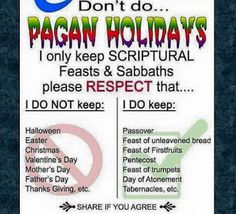 "Where are the ""holidays"" in the bible though?  Can you prove it with scripture?  I'll wait..."