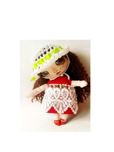 Custom doll gift Textile doll Brooch Rag doll Little princess gift Custom made doll Red dress Collectable doll Fabric doll Baby doll dress