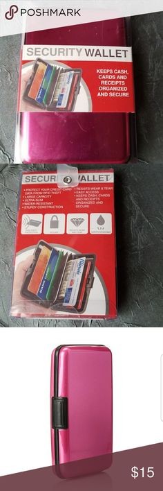 Security Wallet Pink This Item Is Brand New With Tags And Never Used  FASHIONABLE SECURITY PROTECTION 🌹  RFID Security Protection for your Credit Card Data ✔ Large Capacity Slim Water Resistant  Sturdy Construction  Easy Access Keeps Cash Cards and Receipts Organized and Secure   Be Sure To Check Out The Rest of My Listings For Additional Security Wallets in Red And Green  ✔ BUNDLE UP FOR SAVINGS ✔ Security Accessories Key & Card Holders