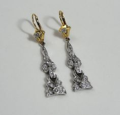 18k Gold and Platinum Diamond Drop Earrings from Art Deco Era  ERDI151N on Etsy, $3,145.00