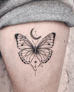 line tattoo geometric – Tattoo Butterfly Thigh Tattoo, Butterfly Tattoo Designs, Geometric Tattoo Butterfly, Moon Tattoo Designs, Butterfly Drawing, Mini Tattoos, Body Art Tattoos, Small Tattoos, Ribbon Tattoos